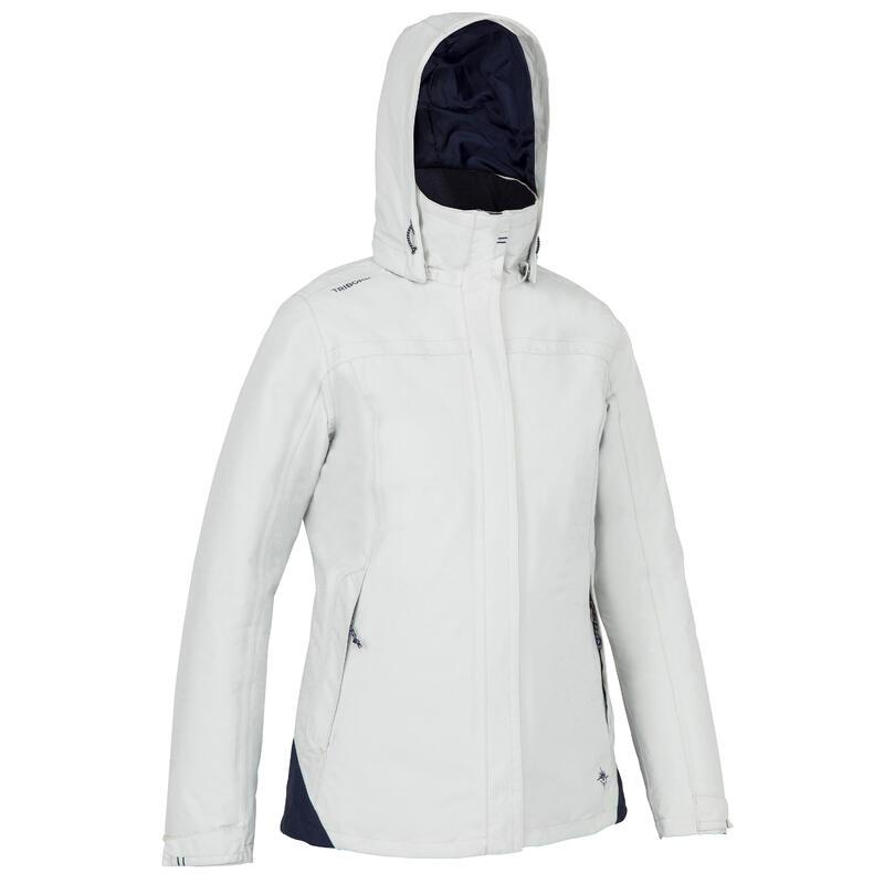Dámská bunda na loď 100 hřejivá nepromokavá světle šedo-modrá