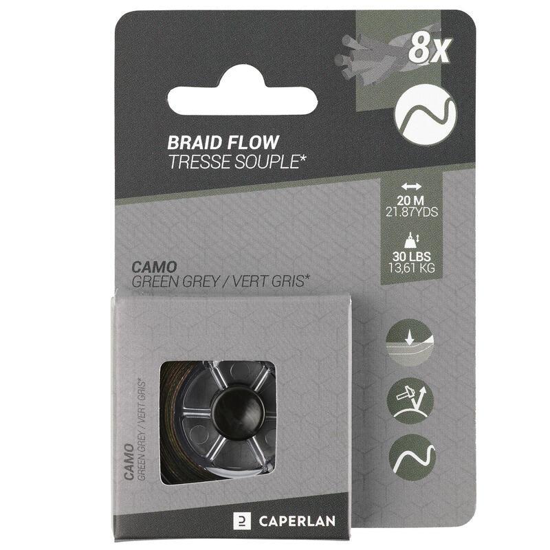 Gevlochten onderlijn voor karpervissen Flow groen/grijs