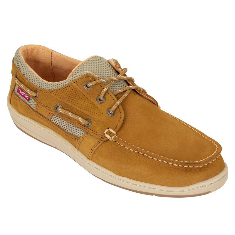 Leren bootschoenen voor heren Clipper bruin