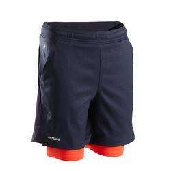 Pantaloncini termici tennis bambino 500 nero-rosso