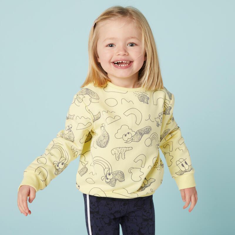 Kindersweater voor peuter- en kleutergym Decat'oons geel met print