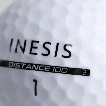 Balle de golf DISTANCE 100 X12 blanche