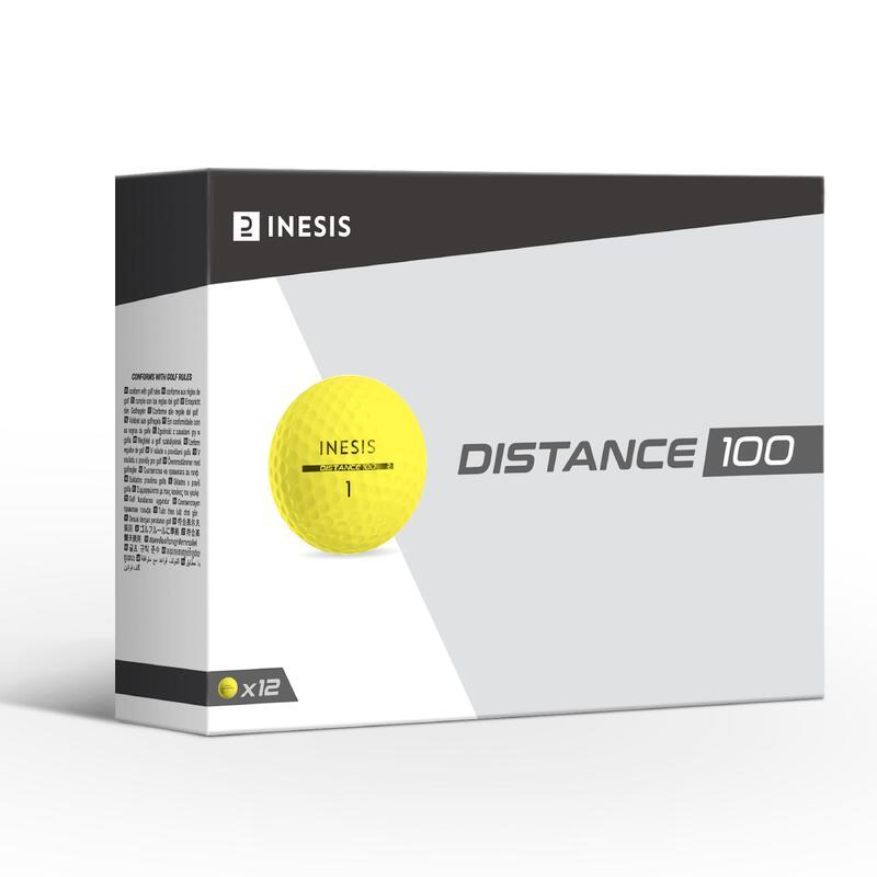 Balle de golf DISTANCE 100 X12 Jaune