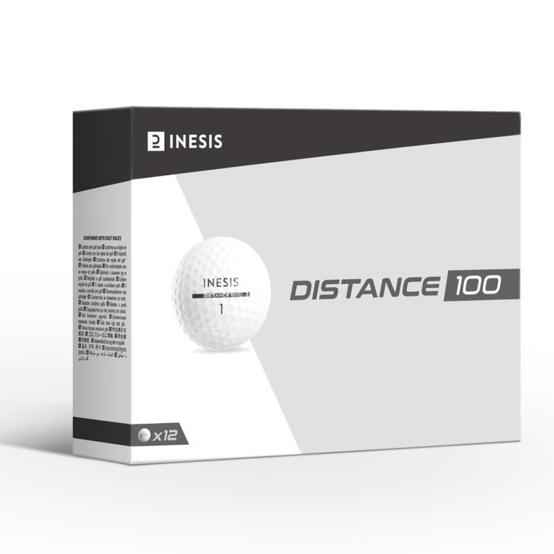 Bola de golf DISTANCE 100 x12 blanco