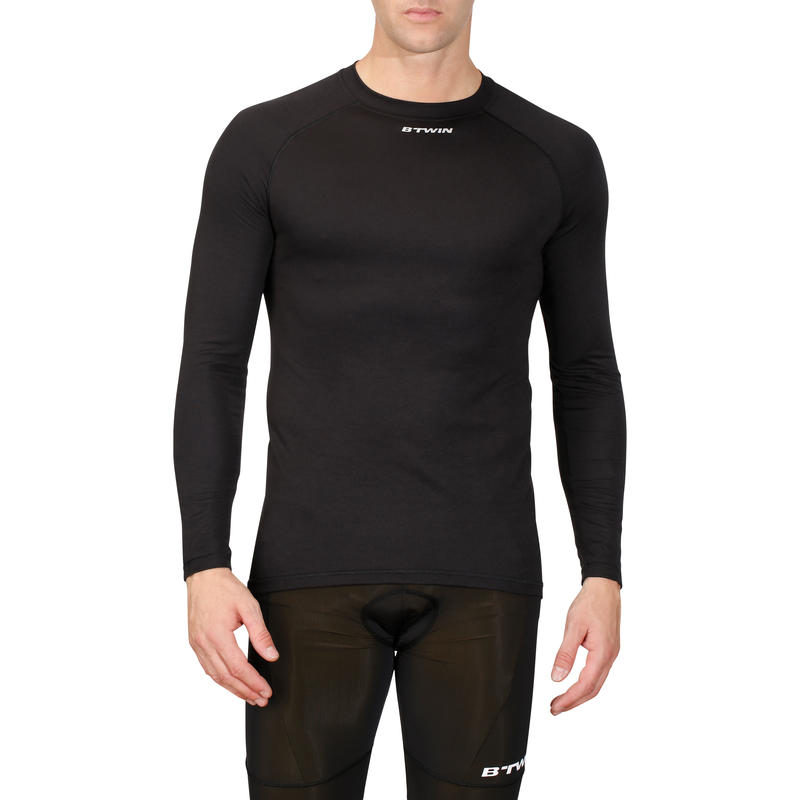 100 Cycling Long-Sleeved Base Layer - Black