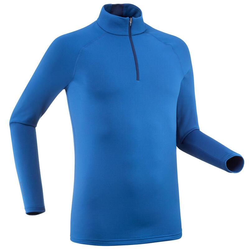Thermoshirt voor skiën heren 500 met 1/2 rits blauw