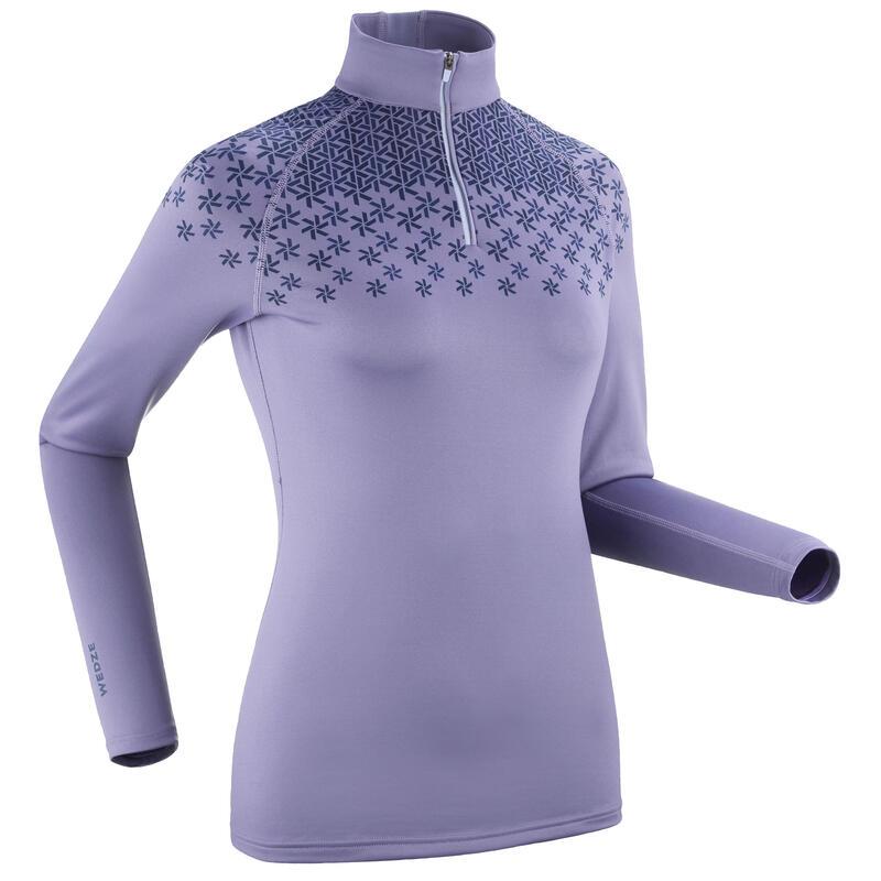 Women's Ski Base Layer Top 500 1/2 Zip Purple