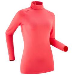 Thermoshirt voor skiën dames 500 koraalrood
