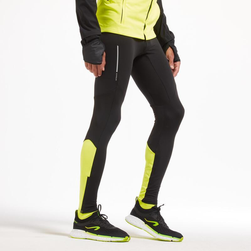 Kiprun Warm Men's Warm Running Tights - Black/Yellow - Limited Edition