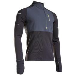 T-shirt manica lunga running uomo KIPRUN WARM REGUL nero-grigio-giallo