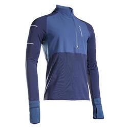 T-shirt manica lunga running uomo KIPRUN WARM REGUL azzurra