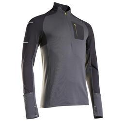 T-shirt maniche lunghe running uomo KIPRUN WARM LIGHT nero-grigio-giallo