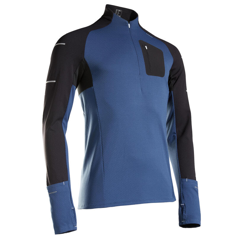Camiseta Manga Larga Running Kiprun Warm Light Hombre Negro Azul Invierno