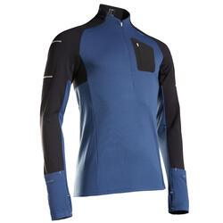 T-shirt running uomo KIPRUN WARM LIGHT nero-azzurro