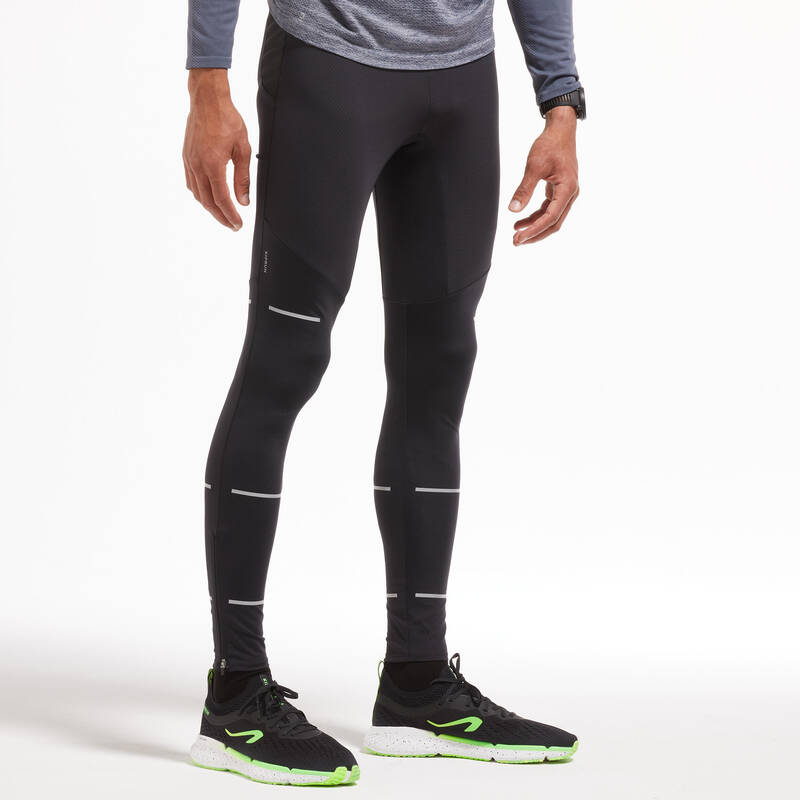 PÁNSKÉ BĚŽECKÉ OBLEČENÍ TEPLÉ/MÍRNÉ POČASÍ Běh - BĚŽECKÉ LEGÍNY ČERNÉ  KIPRUN - Běžecké oblečení