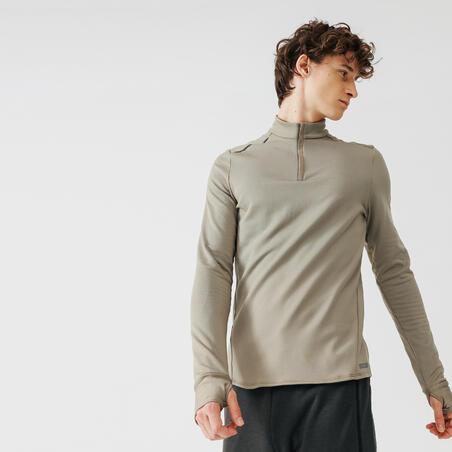 Kalenji Men's Running Warm Long-Sleeved T-Shirt - beige sand