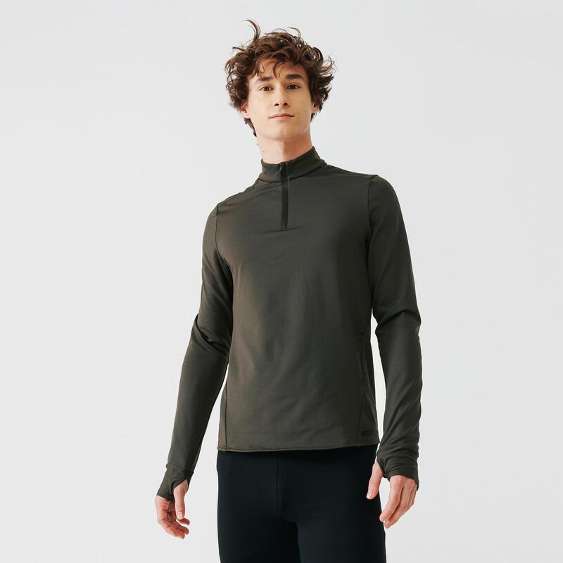 Bluză Călduroasă Alergare Jogging Warm Kaki Bărbați