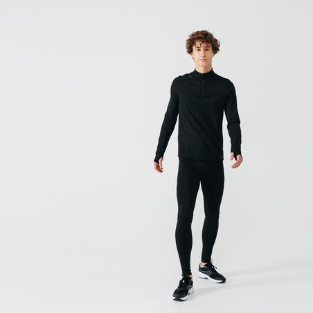 KALENJI MEN'S WARM LONG-SLEEVED RUNNING T-SHIRT BLACK