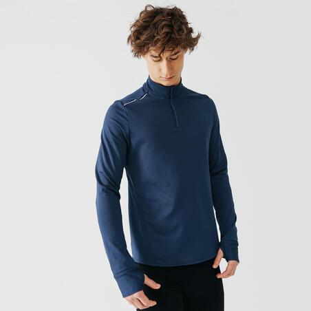 KALENJI WARM MEN'S LONG-SLEEVED RUNNING T-SHIRT - SLATE BLUE