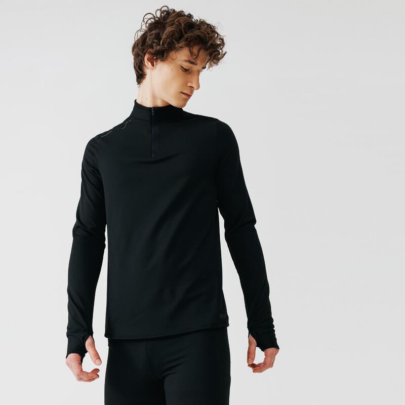 Bluză Alergare Jogging Warm Negru Bărbaţi