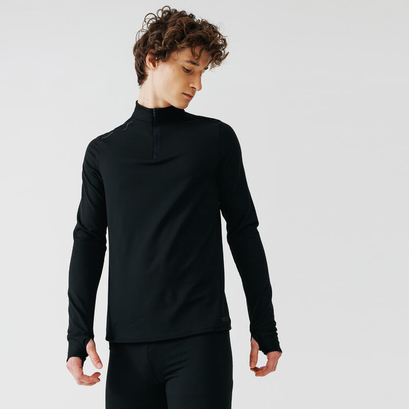 Erkek Siyah Uzun Kollu Tişört / Koşu - KALENJI