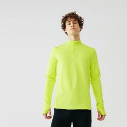 Maglia manica lunga running uomo WARM giallo fluo