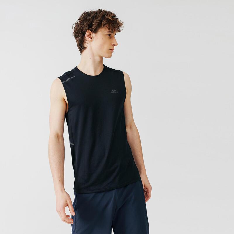 Ademend mouwloos hardloopshirt voor heren Dry+ zwart