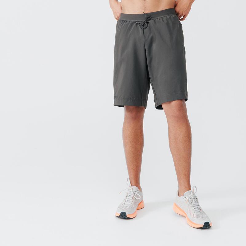 2-in-1 hardloopshort heren Dry+ donker kaki