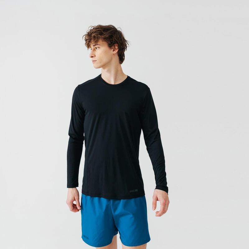 T-SHIRT DE RUNNING MANCHES LONGUES ANTI-UV HOMME - NOIR