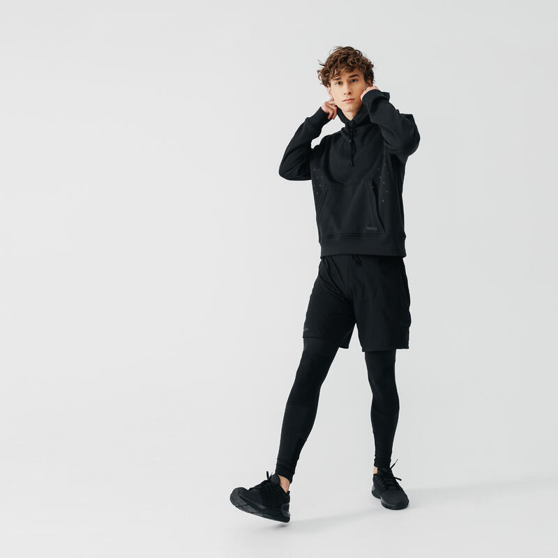 Kalenji Warm+ Men's Running Hoodie Sweatshirt - Black