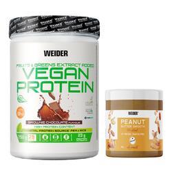 Protéine végétale VEGAN Chocolat 750gr + beurre de cacahuète 180gr