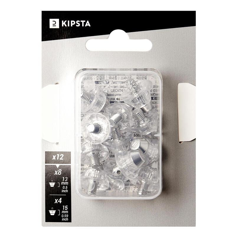Univerzální fotbalové šroubovací špunty hliníkové 13–15 mm průhledné