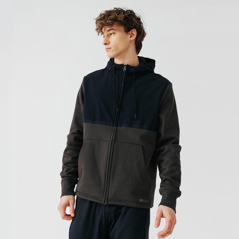 Kalenji Warm+ Men's Running Zipped Hoodie Sweatshirt - Dark Khaki