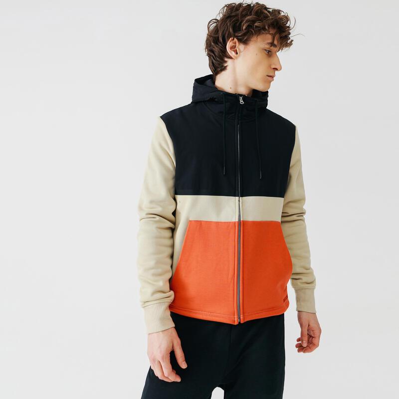 Kalenji Warm+ Men's Running Zipped Hoodie Sweatshirt - Beige/Orange