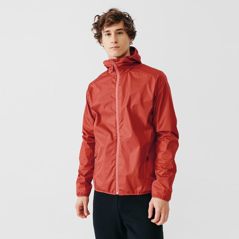 Jachetă protecție ploaie și vânt Alergare Jogging RUN RAIN Roșu Bărbați