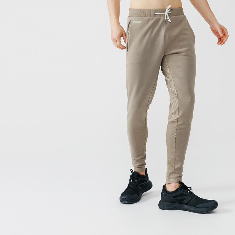 Kalenji Warm+ Men's Running Trousers - beige sand
