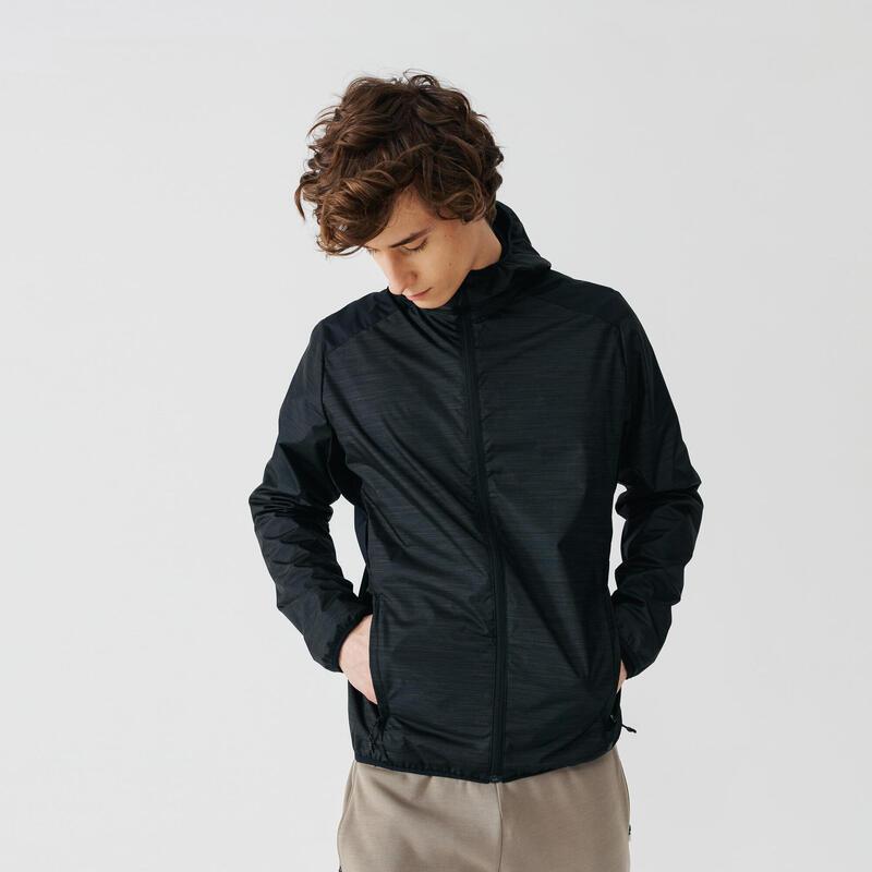 Jachetă protecție ploaie și vânt Alergare Jogging RUN RAIN Negru Bărbați