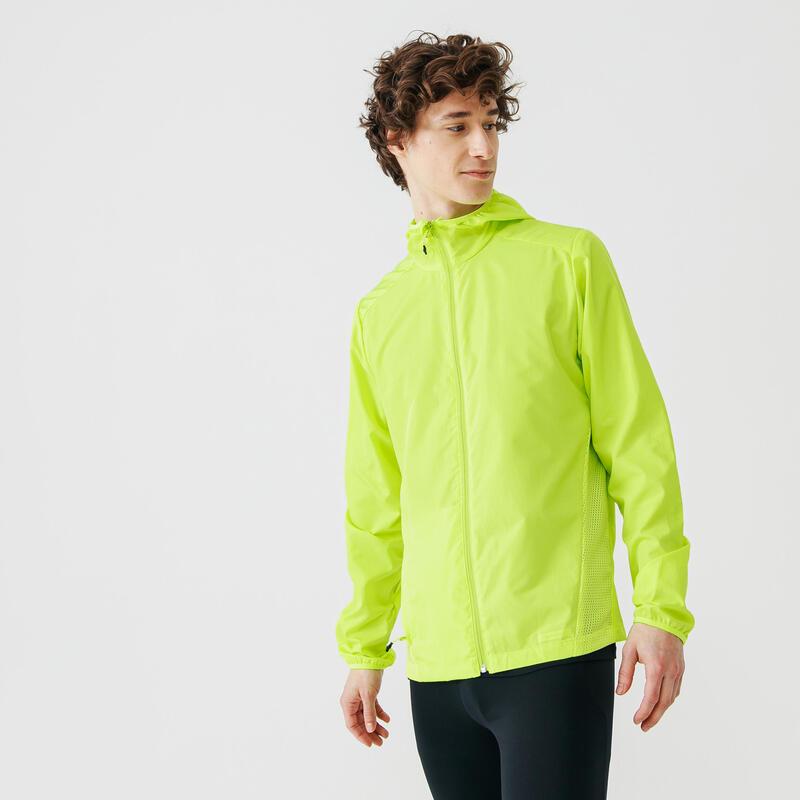 Chaqueta Cortavientos Kalenji Running Run Wind Hombre Amarillo Fluorescente