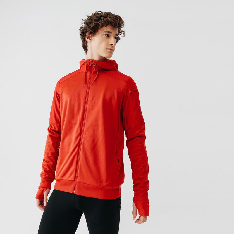 Hanorac cu fermoar Alergare Jogging Warm+ Roșu Bărbaţi