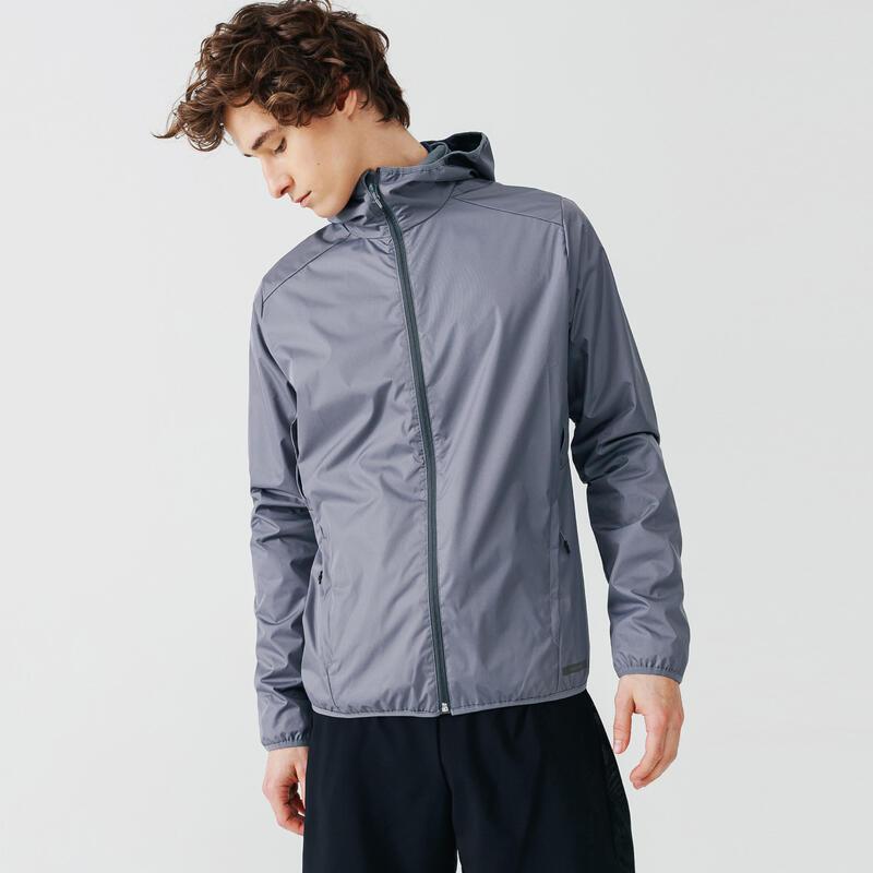 Jachetă protecție ploaie și vânt Alergare Jogging RUN RAIN Gri Bărbați