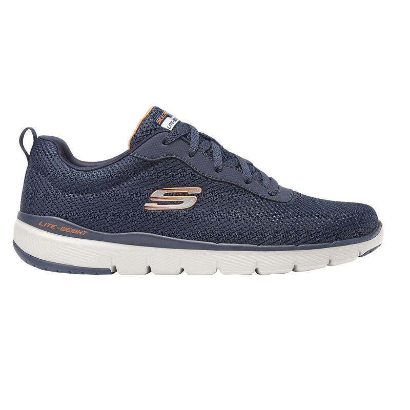 Zapatillas Marcha Deportiva Skechers Flex Appeal Hombre Azul Claro/Naranja