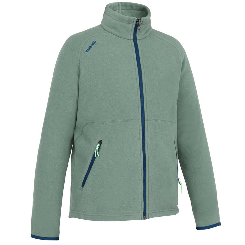 Boys warm eco-design fleece sailing jacket 100 - khaki