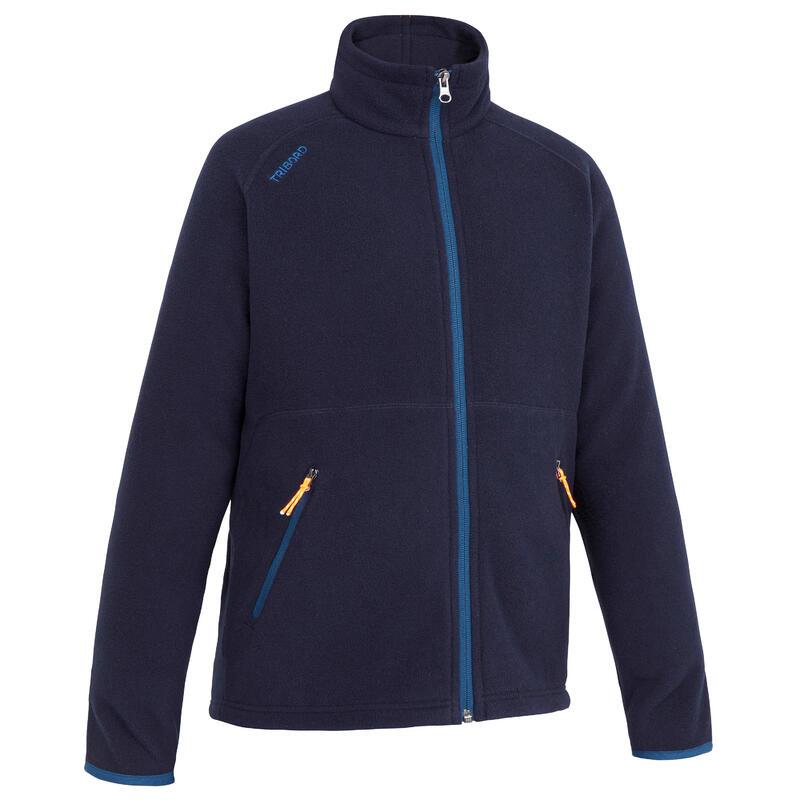 Warme fleece voor zeilen kinderen Sailing 100 ecodesigned marineblauw