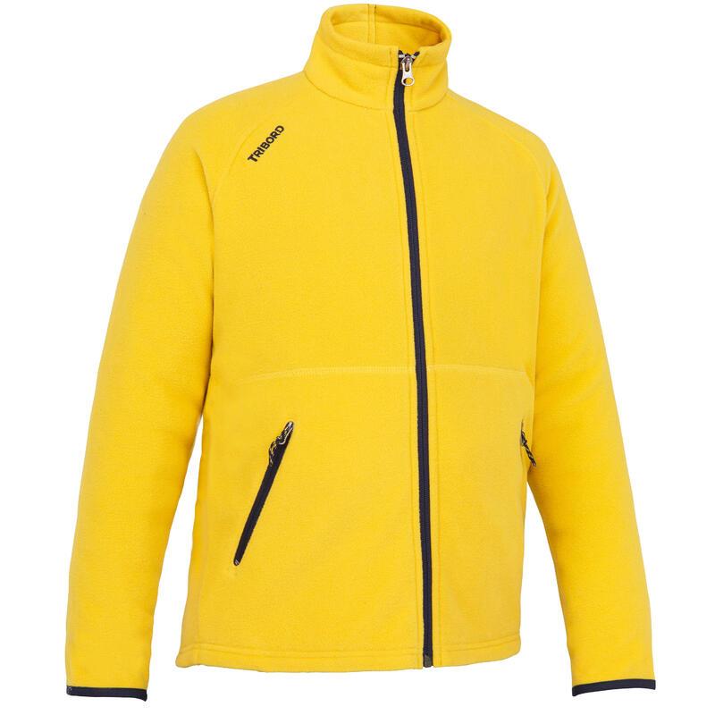 Boys Girls' warm eco-design fleece sailing jacket 100 - Yellow