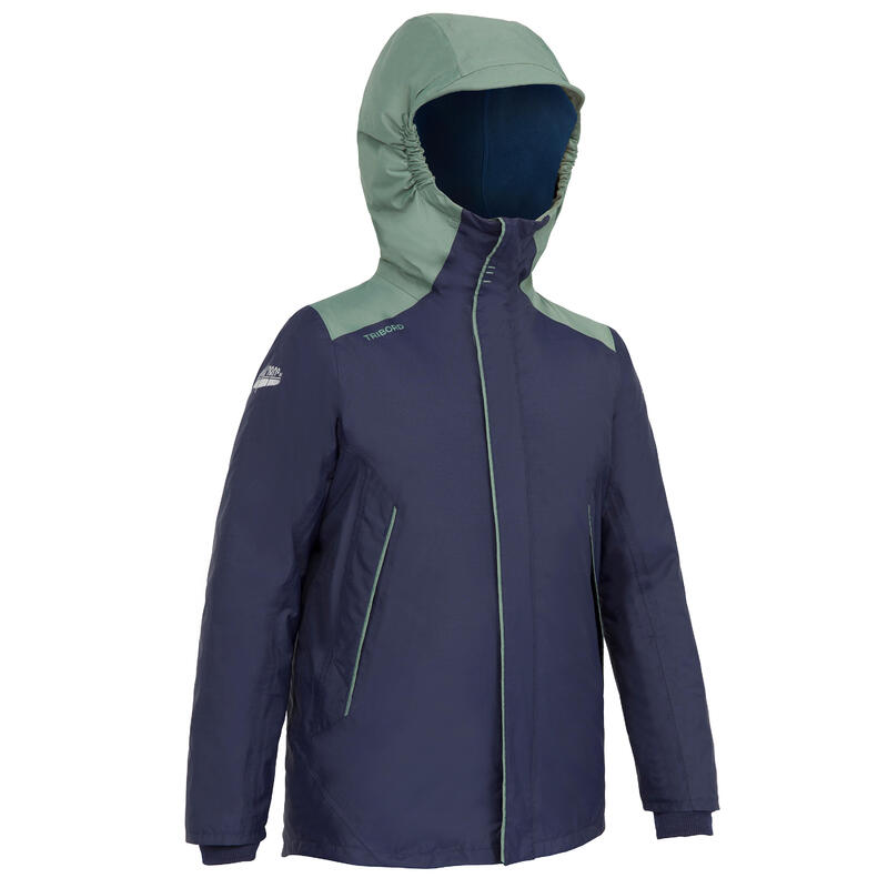 Warme waterdichte jas voor zeilen jongens Sailing 100 blauw kaki
