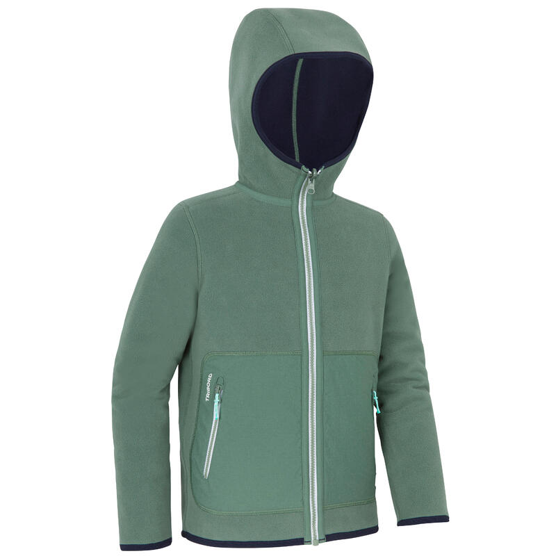 Veste polaire chaude réversible enfant Sailing 500 Kaki / bleu marine