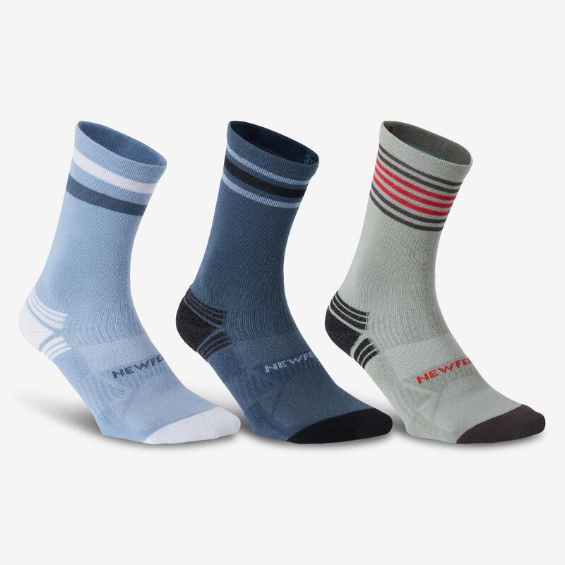 Chaussettes marche sportive/nordique WS 100 Mid Ed. Limitée (3 paires) bleu/kaki