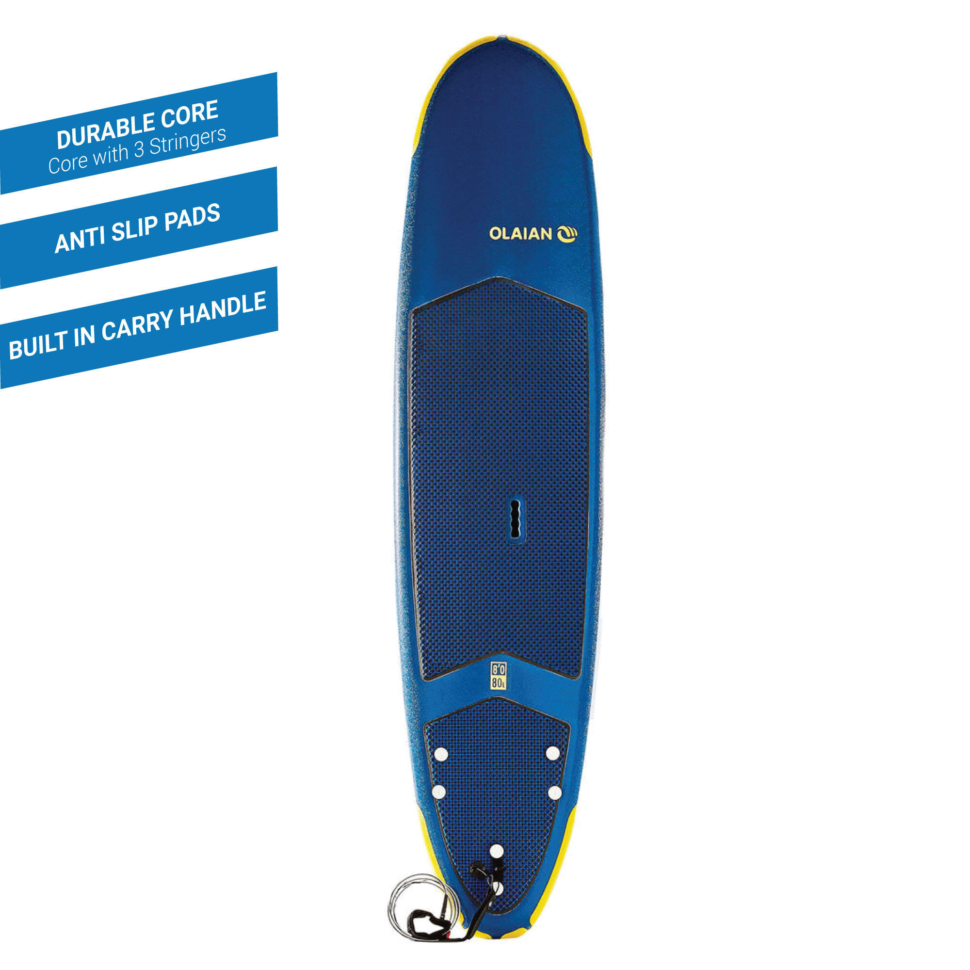Foam Surfboard 8ft 500 with Traction Pad By OLAIAN | Decathlon