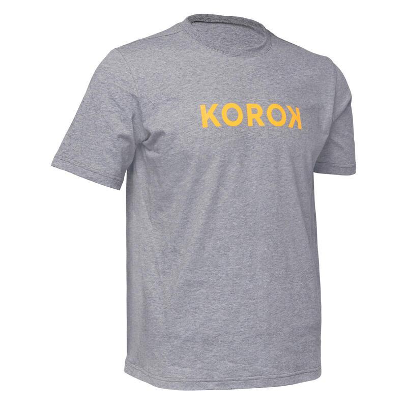 T-shirt de hockey sur gazon homme FH110 Gris et jaune