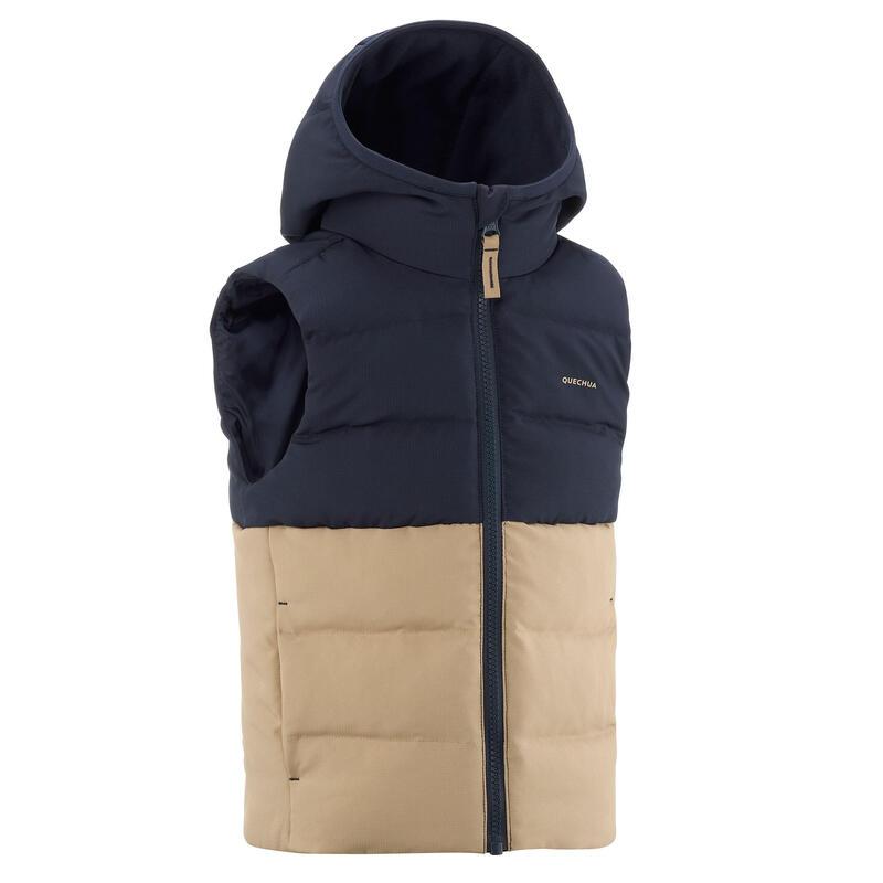 Dětská turistická vesta prošívaná modro-béžová